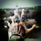 Vintage Gothic 316L Stainless Steel Prayer Hands Skull Ring Punk Men's Party Ring Jewelry Gift