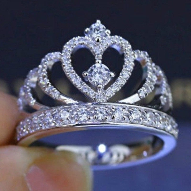 Women Higt Quality 925 Silver Plated Princess Wedding Band Zircon Crown Ring Jewelry