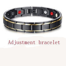 Load image into Gallery viewer, 4 IN 1 Mens Health Energy Bracelet Bangle for Arthritiswith Far Infrared Ray Germanium Powder Neodymium Magnet Negative Ion Bracelet with FREE Link Removal Tool Stainless Steel 316L
