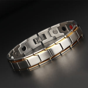 4 IN 1 Mens Health Energy Bracelet Bangle for Arthritiswith Far Infrared Ray Germanium Powder Neodymium Magnet Negative Ion Bracelet with FREE Link Removal Tool Stainless Steel 316L