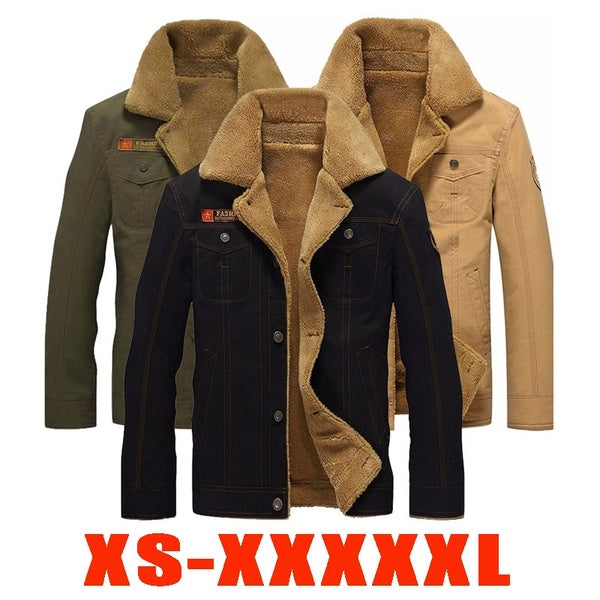 Plus Size Winter Bomber Air Force Pilot Warm Male Fur Collar Army Tactical Jacket Mens Jacket