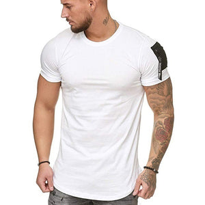 Mens Fashion Solid Color Fitness Tops Short Sleeve Casual Cotton Tee T-shirts