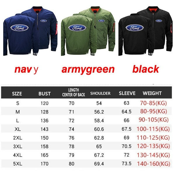 2019 Winter Men's Ford Motorcycle Racing Team Army Pilot Jacket Biker Pilot Jacket Ford Mustang Flight Military Personality Jacket Plus Velvet Baseball Suit
