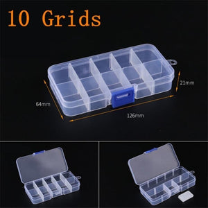 Practical Adjustable 10/15/24 Compartment Plastic Storage Box Jewelry Earring Bead Screw Holder Case Display Organizer Container