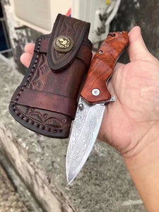 Small Damascus Steel Folding Knife Small Pocket Knife wooden handle Collection Gift Carry-on Keychain Knife Leather sheath