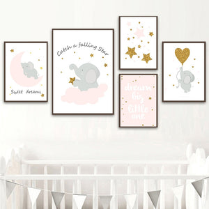 Cartoon Pink Elephant Canvas Painting On The Wall Blinking Stars Wall Art Pictures For Baby Girl Room Decor Quotes Nursery Posters No Frame