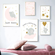 Load image into Gallery viewer, Cartoon Pink Elephant Canvas Painting On The Wall Blinking Stars Wall Art Pictures For Baby Girl Room Decor Quotes Nursery Posters No Frame