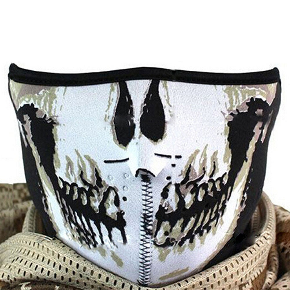Multifunction Cosplay Bike Skeleton Mask Costume Halloween CS Mask Cycling Motorcycle Paintball Half Face Mask Winter Fa