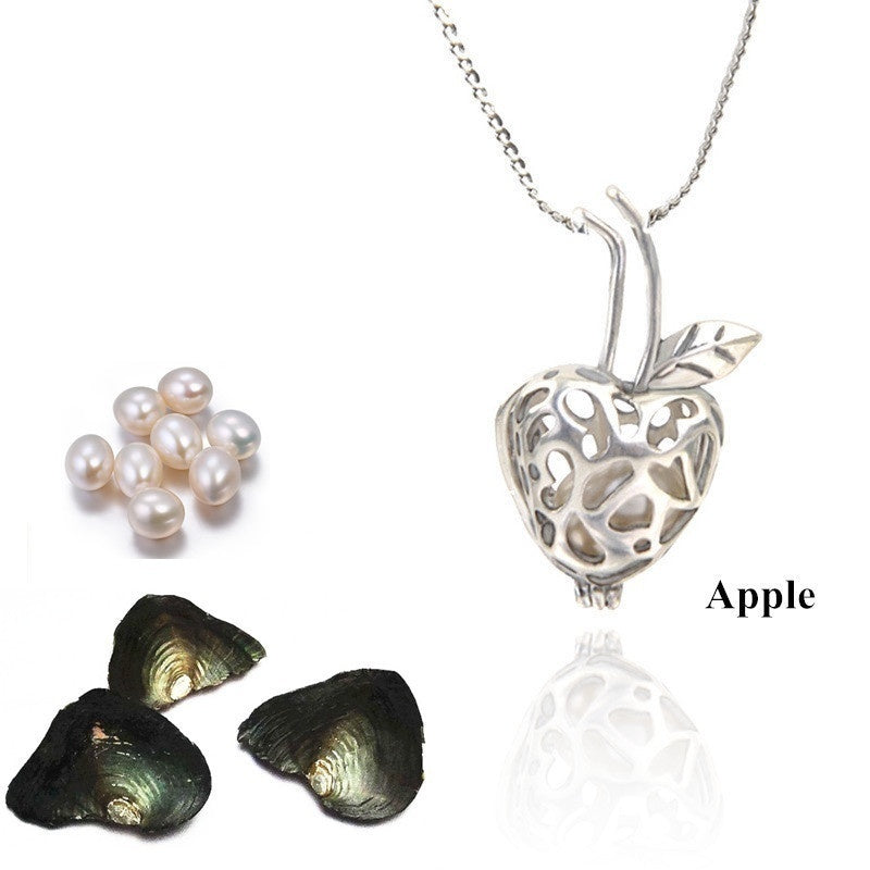 1 Set Love Best Wish Necklace Pendant Necklace Wish Pearl in Vacuum-packing Freshwater Oyster Christmas Gifts (1pc Necklace+1pc Oyster)