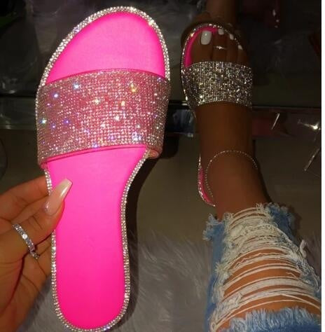 Fashion Flat Rhinestone Sandals Solid Color Casual Beach Bling Bling Slippers for Women