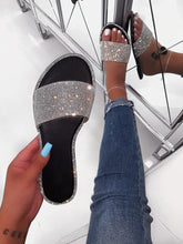 Load image into Gallery viewer, Fashion Flat Rhinestone Sandals Solid Color Casual Beach Bling Bling Slippers for Women