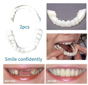 Snap on Smile! 2Pcs New Reusable Whitening Dentures for Flexible Cosmetics Comfortable Retouching Dental Care Accessories