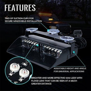 New 1pc Windshield 16 Led Strobe Light Car Flash High Power Strobe Light