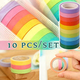 10 Pcs/set Washi Tape Set Diary Scrapbooking Decorative Adhesive Masking Tapes DIY Rainbow Colorful Sticky School Supplies