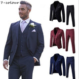 Large size casual fashion Slim men's three-piece suit groom groomsman fashion business casual men's clothing