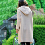 Autumn Winter New Fashion Women Hooded Coat Lady Solid Color Coat Cashmere Cardigan Sweater Coat Thick Soft Windbreaker Jacket Long Overcoat Plus Size