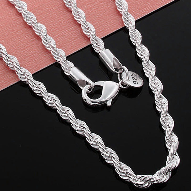 3MM Sparkling Stamped 925 Sterling Silver Twisted Rope Chain Necklace (16-30 inches)