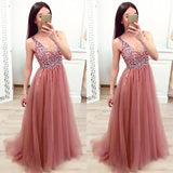 Sexy Women Elegant Deep V-neck Sleeveless Ballgown Sequin Mesh Prom Party Long Tail Dresses