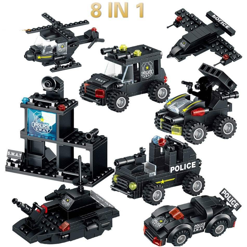 Toys 820PCS 8in1 SWAT Police Command Truck Building Blocks For Children  Warship Mecha Truck Soldiers Bricks