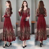 Autumn and Winter Dresses New Fashion Long Sleeve Skirt with Slender Waist and Lean Printed Bottom Skirt