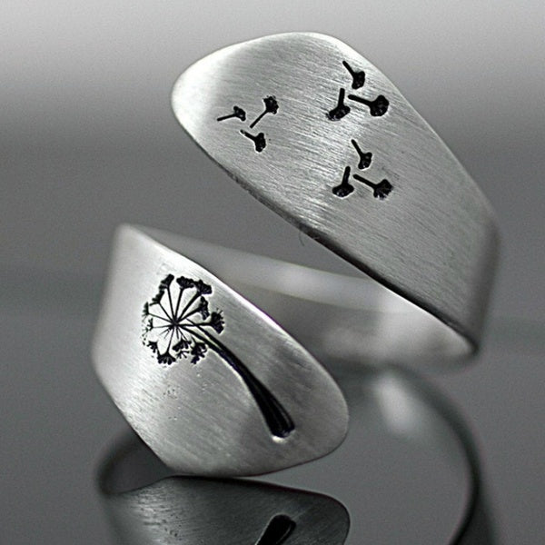 Fashion Jewelry Exquisite Dandelion Geometric 925 Sterlig Silver Temperament Hand Drawn Winding Wedding Engagement Party Opening Ring