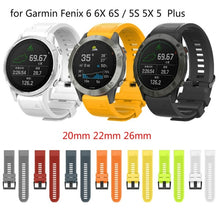 Load image into Gallery viewer, New Suitable for 20mm 22mm 26mm QuickFit strap for Garmin Fenix 6 6X 6S / 5S 5X 5 Plus 3HR silicone strap and pioneer 945 935 / instinct strap