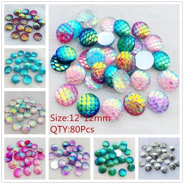 80pcs 12mm AB Fish Scale Resin Mermaid Flat Back Crafts Fine Decoration Diy