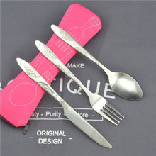 Load image into Gallery viewer, 3pcs/set Dinnerware Portable Printed Stainless Steel Spoon Fork Steak Knife Set Travel Cutlery Tableware with Bag