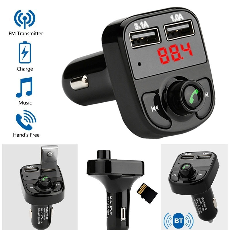 Car Bluetooth Kit FM Transmitter Dual USB MP3 Player Radio USB Port Hands-free Wide Compatibility