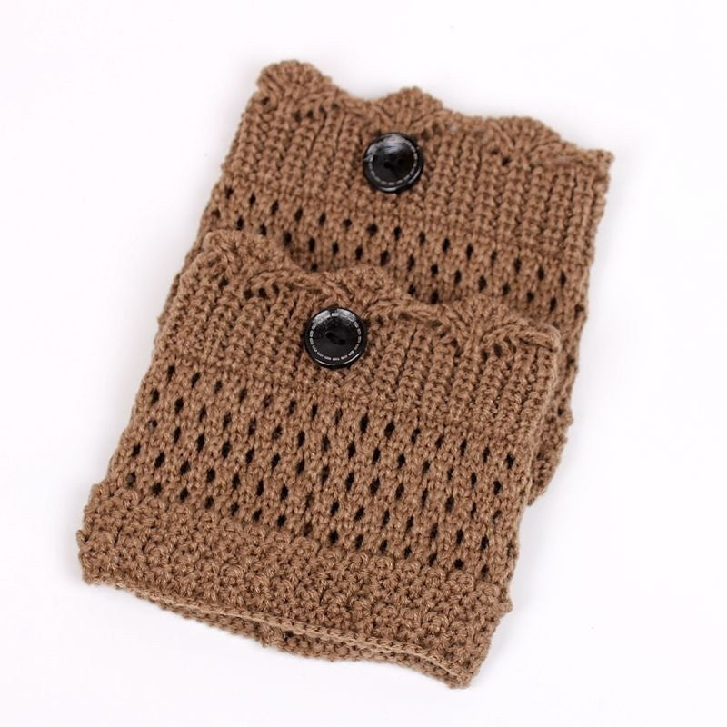 Fashion Women Hollow Crochet Knitted Button Cover Boot Socks Leg Warmers Toppers Accessories