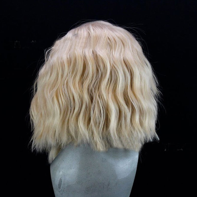 12 Inch Curly Lace Front Bob Hair Platinum Blonde Short Wave Wigs Synthetic Lace Front Wig Heat Resistant Fiber Hair Wig
