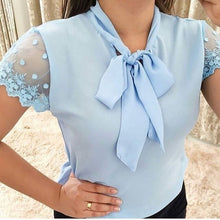 Load image into Gallery viewer, Women Fashion Sexy Chiffon Blouses Summer Women's Lace Short Sleeve T Shirts Office Lady Tie Chiffon Tops