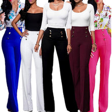 Load image into Gallery viewer, Ladies Plain Trousers Womens Flared Wide Leg Trousers Pants Leggings