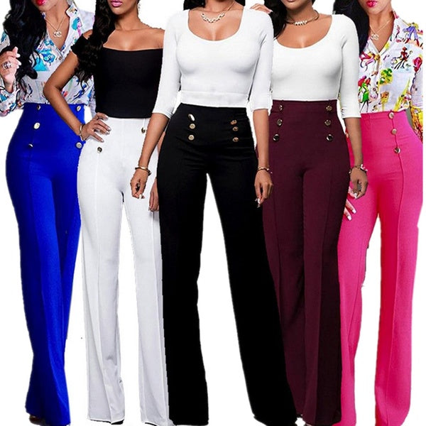 Ladies Plain Trousers Womens Flared Wide Leg Trousers Pants Leggings