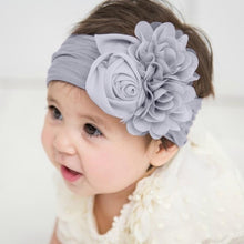 Load image into Gallery viewer, Cute Flower Baby Hair Bands Nylon Hight Elastic Rose Floral Rabbit Ears Newbor Headband for Children's Headband