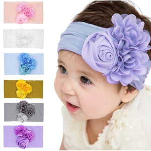 Cute Flower Baby Hair Bands Nylon Hight Elastic Rose Floral Rabbit Ears Newbor Headband for Children's Headband