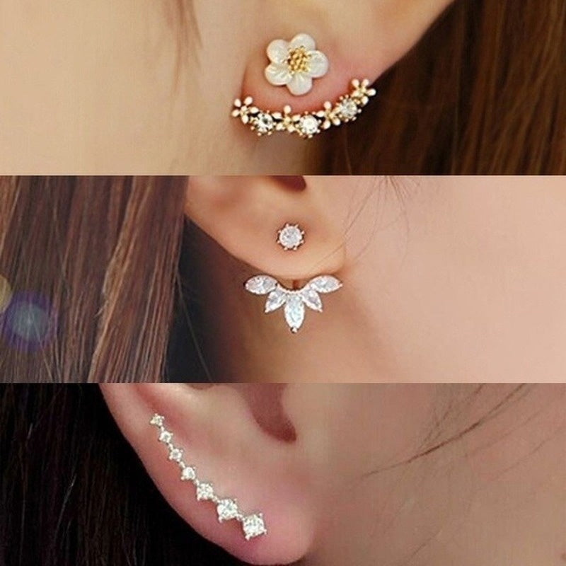 6 Style 3 Colors Gold/Silver Women Fashion Double Side Crystal Flower Shaped Earrings Hypoallergenic Ear Stud Earrings 1 Pair