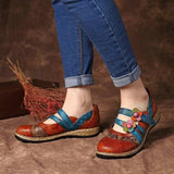 New Retro England Floral Leather Stitching Sandals Color Stitching Shackle Stripes Wedges Flat Shoes Casual Shoes
