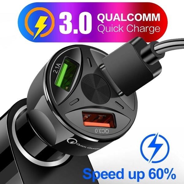 3 Ports USB Car Charger Quick Charge 3.0 Fast Charging Universal Car Cigarette Lighter with Light for IPhone Samsung Huawei Xiaomi Phone Tablet Charger