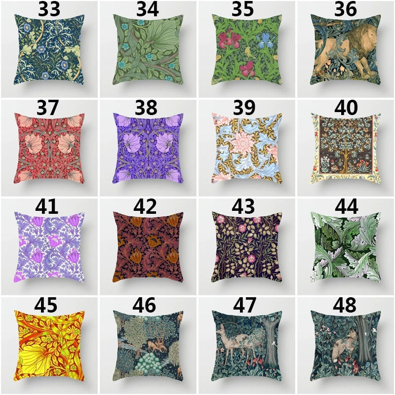 Vintage William Morris Forest Animals Lion Fox Poppies Floral Seaweed  Natural Flower  Paintings  Single Side Print Linen Pillow Case Car Cushion Cover For Sofa Seat Luxury Home Decor