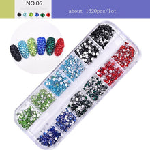 Load image into Gallery viewer, 1440Pcs/Box Mixed Colors Glass Nail Rhinestones Multi Size Flat-back AB Crystal Strass 3D Charm Gems DIY Manicure Nail Art Decorations
