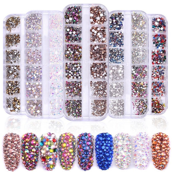 1440Pcs/Box Mixed Colors Glass Nail Rhinestones Multi Size Flat-back AB Crystal Strass 3D Charm Gems DIY Manicure Nail Art Decorations