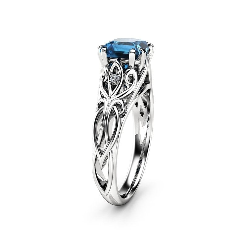 Fashion retro 925 Sterling Silver Blue Diamond female Engagement Wedding Love Gift Ring Size 6-10