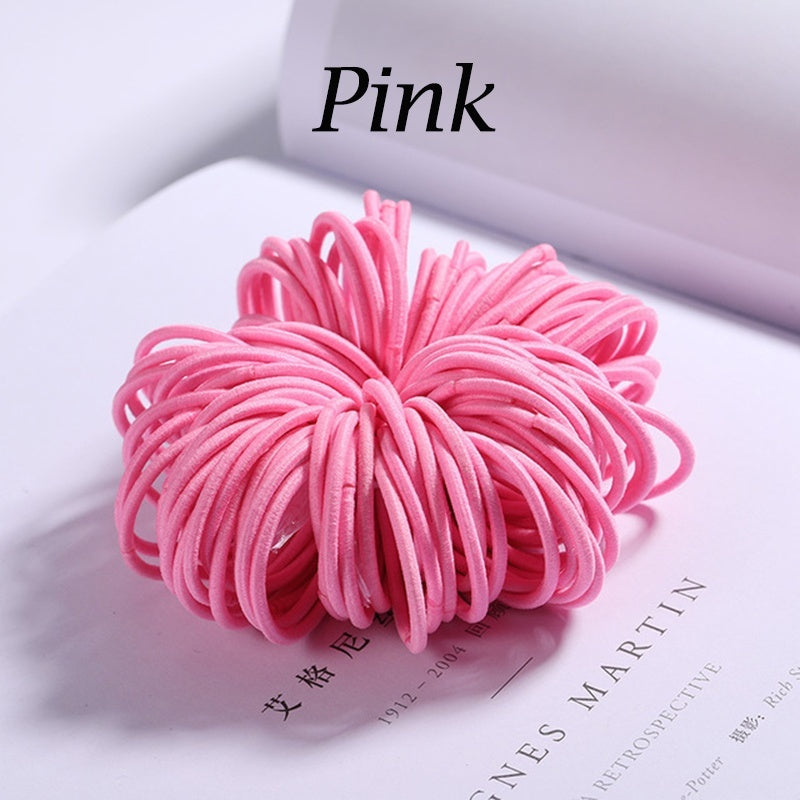 100Pcs Candy Color Nylon Elastic Hair Band for Children Hair Accessories (Diameter about 3.0cm)