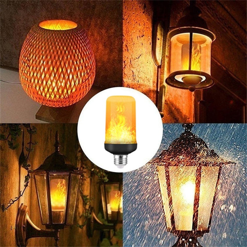 New LED Flame Effect Light Bulb 4 Modes Flickering Fire Light Bulbs Atmosphere KTV Festival Party Decoration