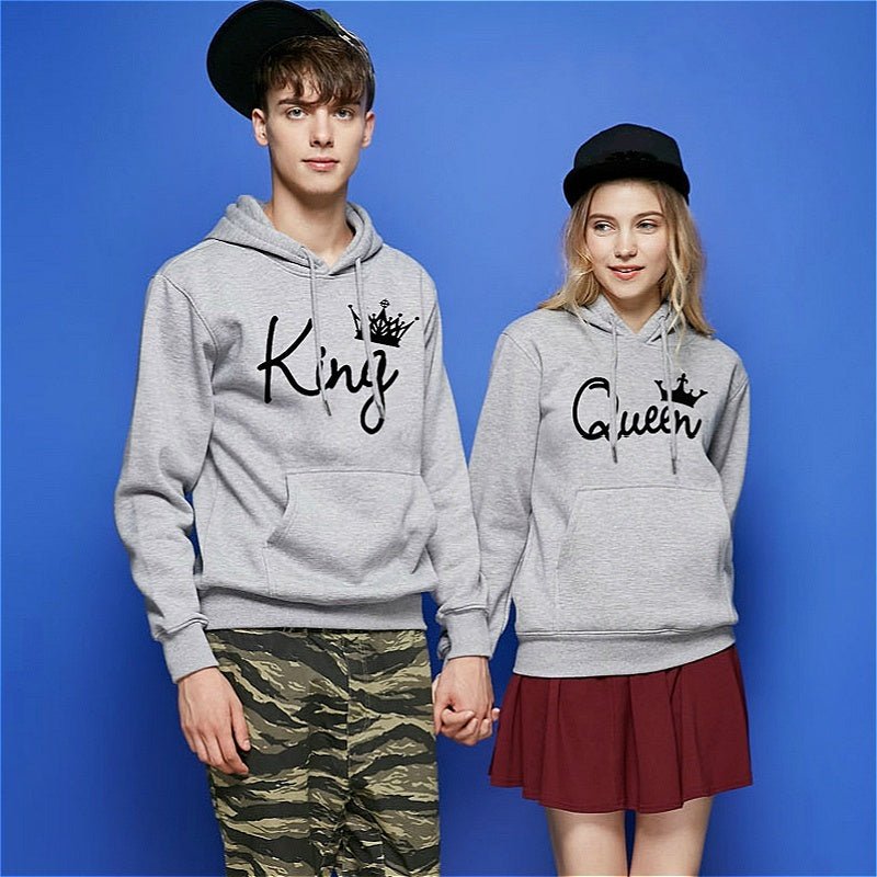 2020 New King Queen Letter Soulmate Couple Fashion Hoodie Cartoon - Funny Couple Hoodie Sweater
