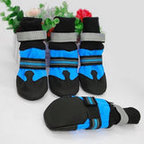 4PCS Waterproof Anti-slip Pet Dog Shoes Boots Booties For Snow Winter Reflective (Color: Blue & Rose red)