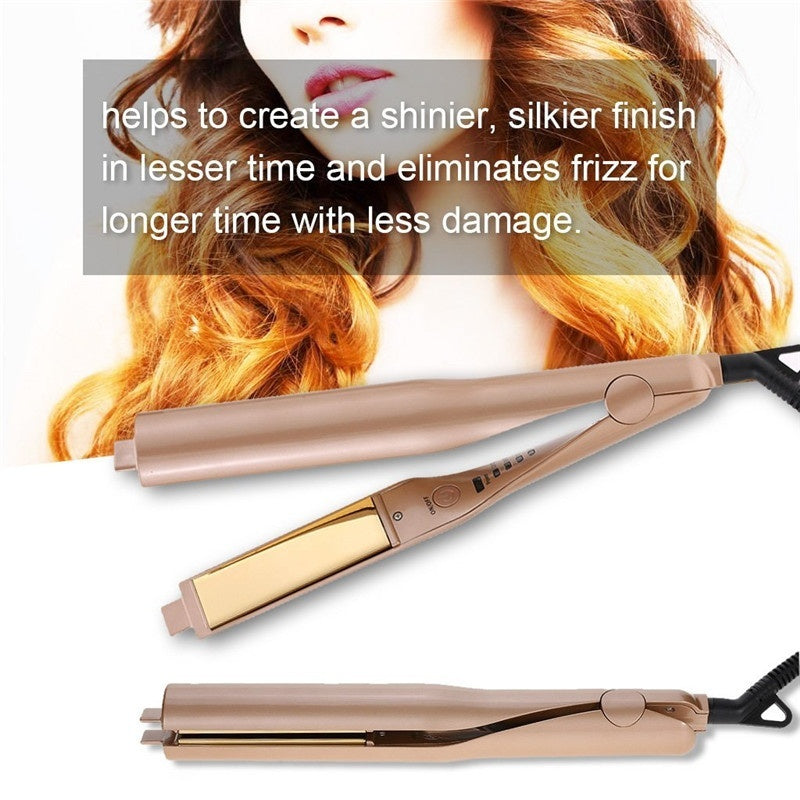 Flat Iron for Hair Curling Irons Hair Straightener Twist 2-in-1 Hair Curlers & Straightening Iron Hair Styling Tools Dual Voltages with 3D Concave and Convex Titanium-Plated 1 Inch Color Gold
