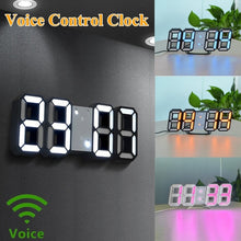 Load image into Gallery viewer, Wall Clock Voice Control Clock 3D LED Digital Alarm Clock Glowing Night Mode Brightness Adjustable Electronic Table Clock Intelligent Wall Clock