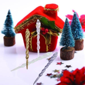 5pcs/set 13cm Simulation Ice Xmas Tree Hanging Ornament Fake Icicle Prop for Winter Frozen Party Christmas Tree Hanging Decoration